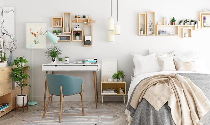 现代双人床书桌椅组合3d模型【ID:77205204】