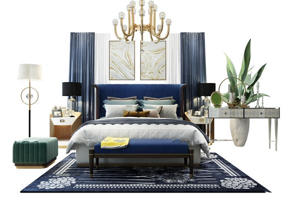 后现代双人床卧室软装组合3D模型【ID:77211502】【ID:77211502】