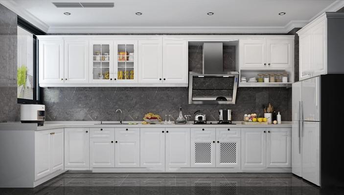美式简约厨房橱柜3d模型【ID:77213438】