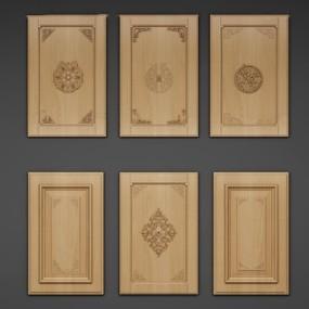 中式实木厨柜门板组合3D模型【ID:77215150】