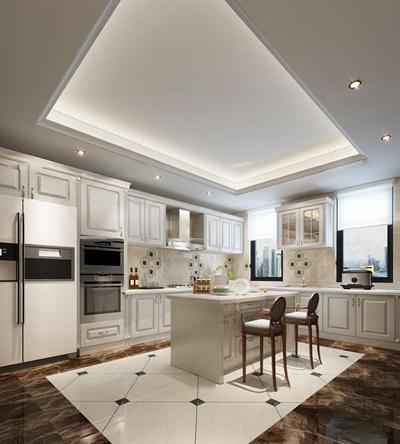 欧式厨房橱柜3D模型【ID:77215332】