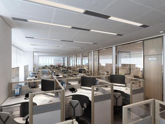 现代敞开式办公室3D模型【ID:77215563】