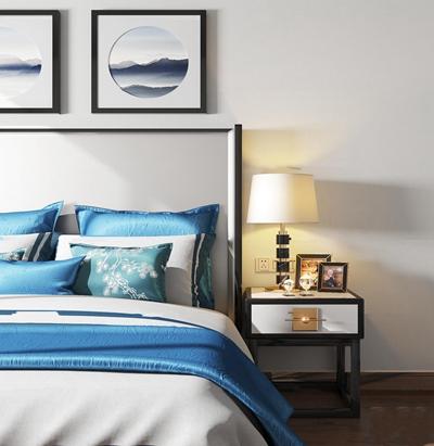 新中式布艺双人床床头柜台灯装饰画组合3D模型【ID:77216608】