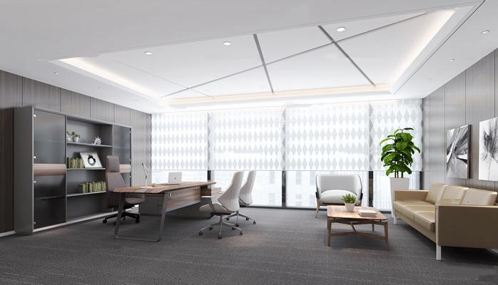 现代总经理办公室3D模型【ID:77218451】