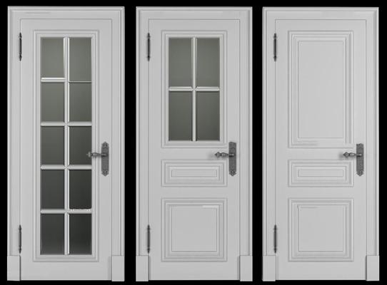 欧式实木玻璃门组合3D模型【ID:77221850】