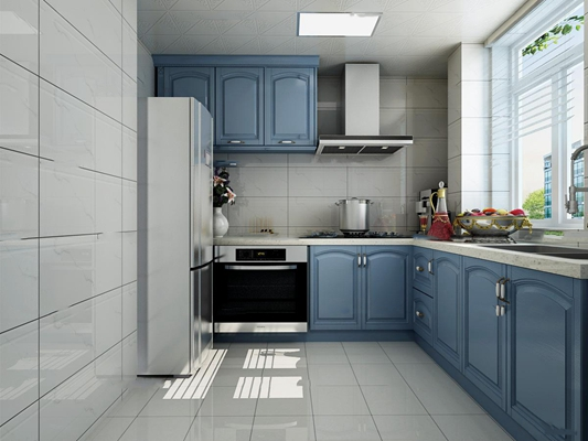 简欧厨房橱柜3D模型【ID:77224230】