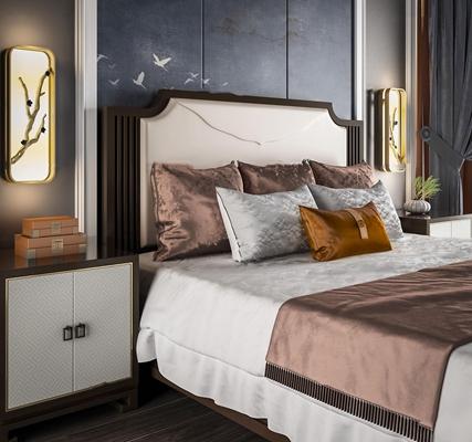 新中式布艺双人床床头柜壁灯组合3D模型【ID:77226902】