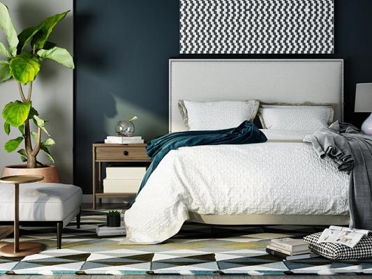现代双人床床头柜组合3D模型【ID:77227807】