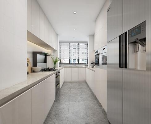 现代厨房橱柜3D模型【ID:77231038】