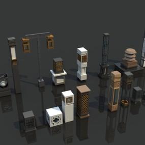 新中式灯柱户外地灯组合3D模型【ID:77231515】