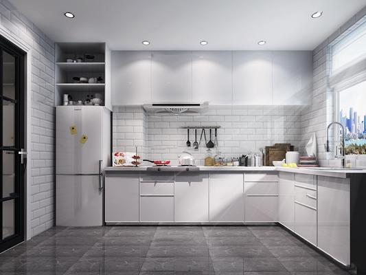 现代厨房橱柜厨具3D模型【ID:719681355】