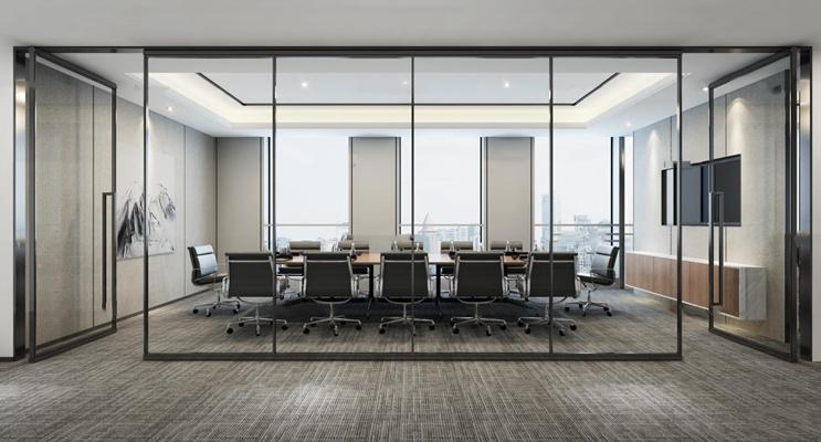 现代办公会议室3D模型【ID:77234085】