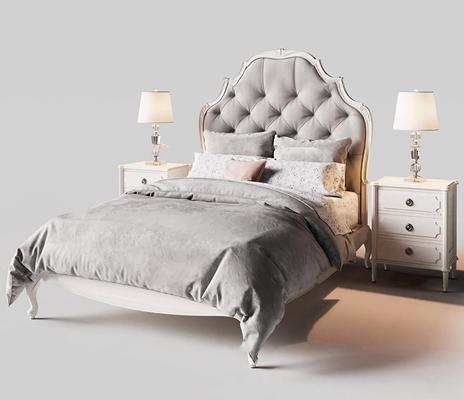 简欧双人床床头柜台灯组合3D模型【ID:77237603】