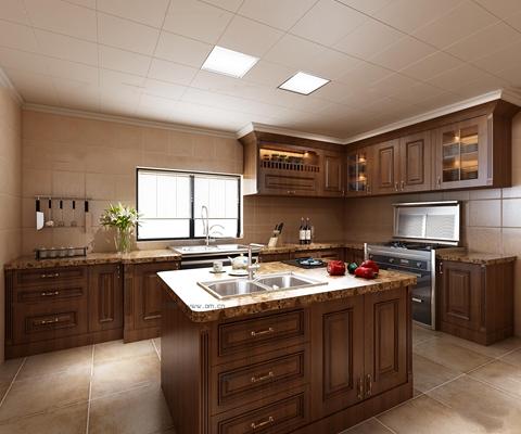 美式敞开式厨房实木橱柜3D模型【ID:77237938】