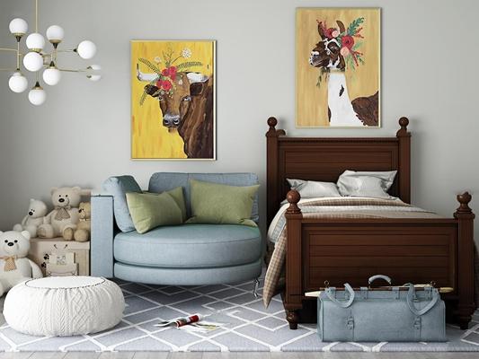 美式儿童床沙发玩具摆件组合3D模型【ID:77241610】
