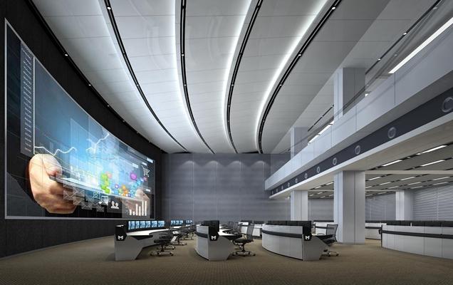现代监控中心指挥中心3D模型【ID:77244162】