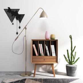 北歐實木裝飾柜書籍落地燈仙人掌組合3D模型【ID:927827216】