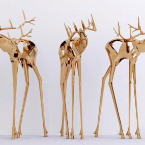 现代金属麋鹿雕塑3d模型【ID:343427125】