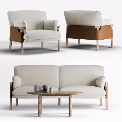 现代布艺双人沙发3D模型【ID:928560786】