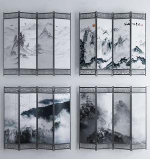新中式山水屏风隔断组合3D模型【ID:341358753】