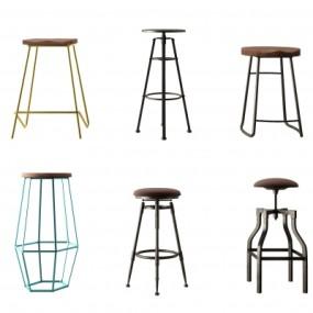 工业风铁艺吧台椅3D模型【ID:328438133】
