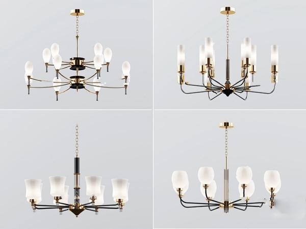 現代金屬多頭吊燈3D模型【ID:748244832】