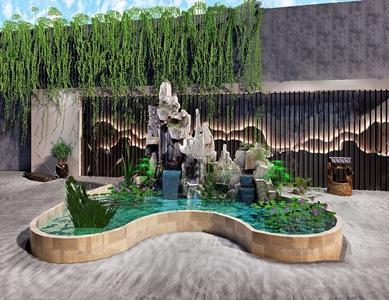 新中式假山水景荷花景觀小品3D模型【ID:131390832】
