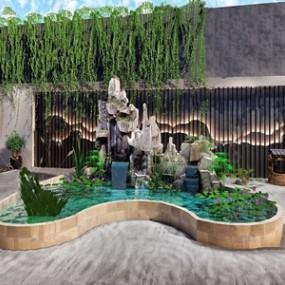 新中式假山水景荷花景观小品3D模型【ID:131390832】