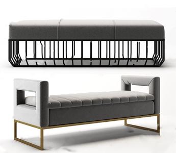 现代床尾椅3D模型【ID:732389605】
