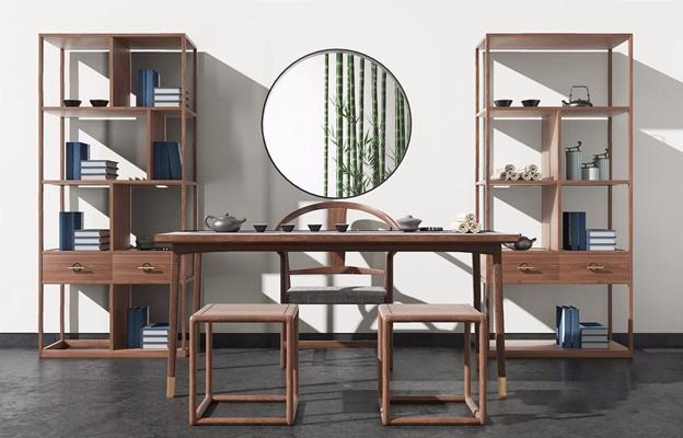 新中式茶桌椅組合3D模型【ID:327931617】