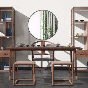 新中式茶桌椅组合3D模型【ID:327931617】