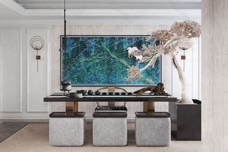 赛瑞迪普空间设计新中式茶室3D模型【ID:632387193】