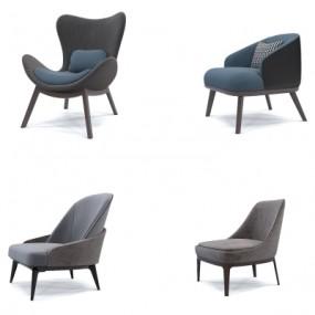 现代单人沙发组合3d模型【ID:928562683】