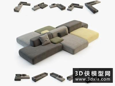 現代沙發國外3D模型【ID:729385603】