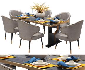 現代餐桌椅餐具組合3D模型【ID:327784469】
