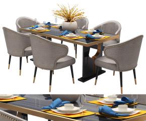 现代餐桌椅餐具组合3D模型【ID:327784469】