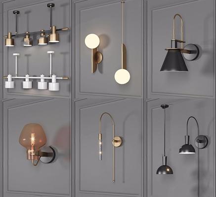 現代壁燈組合3D模型【ID:528283966】
