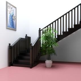 后现代黑金楼梯护栏3D模型【ID:828473562】