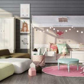 北欧儿童娱乐室家具组合3D模型【ID:628297962】