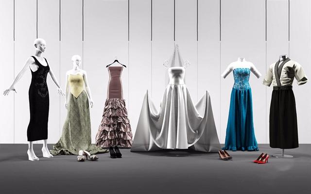 模特婚纱鞋子组合3D模型【ID:628052587】