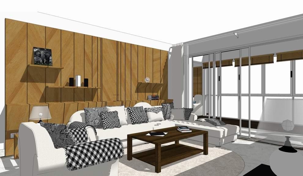 現代風格三房兩廳室內設計SU模型【ID:936419841】