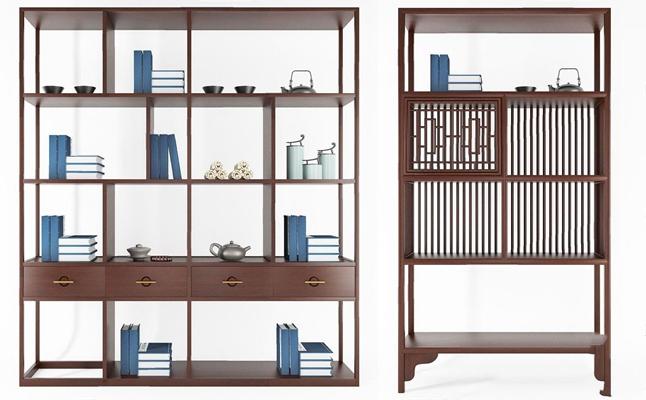 新中式書柜組合3D模型【ID:928193531】