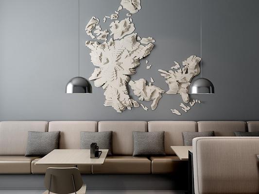 超現代纸质墙饰卡座组合3D模型【ID:127845142】