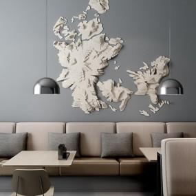 超现代纸质墙饰卡座组合3D模型【ID:127845142】