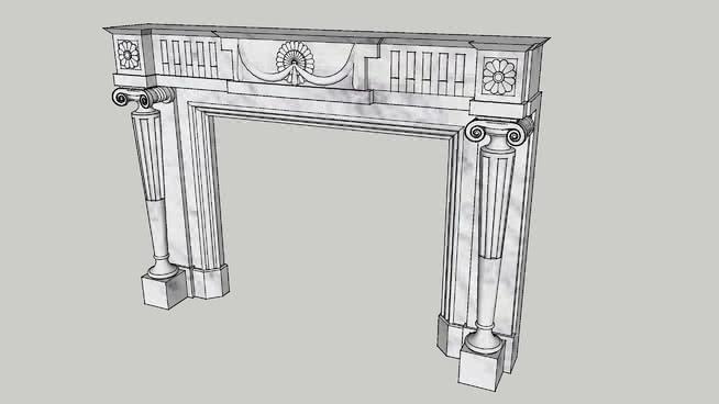 路易十六的大理石壁炉地幔SU模型【ID:939924570】