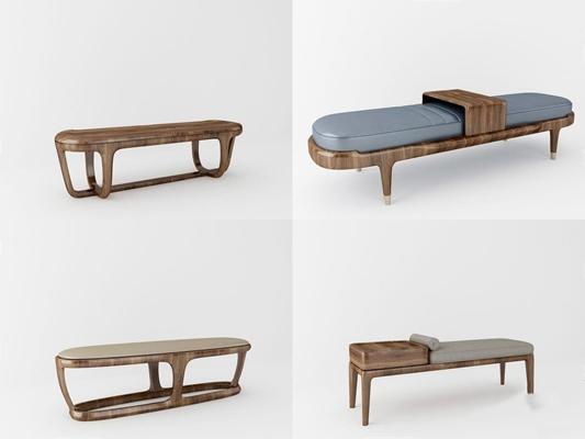 北歐實木床尾凳腳塌3D模型【ID:427981617】
