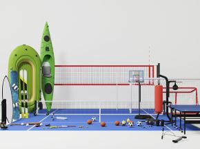 現代籃球架乒乓球臺網球劃艇組合3D模型【ID:927815981】