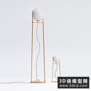 現代金色落地燈國外3D模型【ID:929322069】
