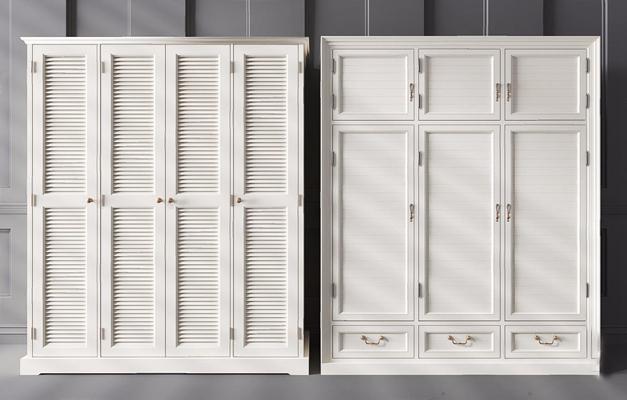 美式衣柜3D模型【ID:928350921】