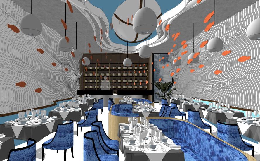 海洋餐厅室内设计SU模型【ID:936420867】